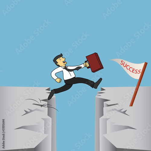 Hight Risk Hight Return.Businessman is jumping over a cliff to t