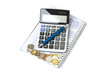 Business chart. Calculator, notebook, pen and coins.