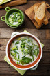 Spring vegetable soup in a pot