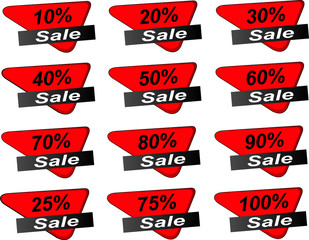 Red Sale price tags, banner, Sticker Vector