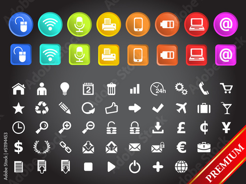 Icons multimedia and standard