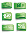green vector labels bio/organic - full transparent shadows