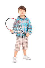 Full length portrait of a child holding a tennis racket