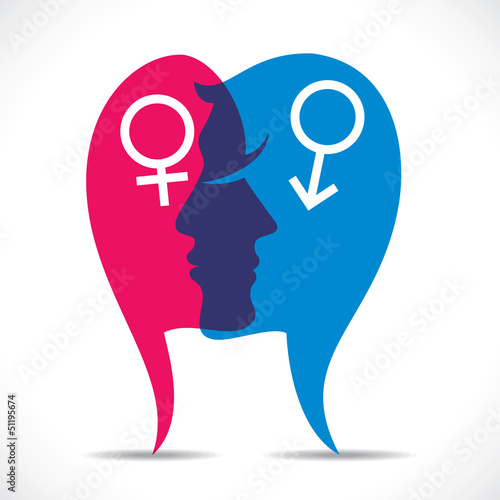 male and female with sign stock vector