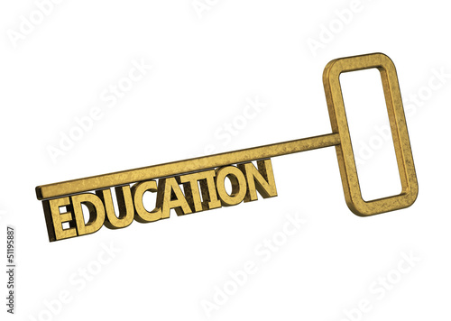 golden key with word education on a white background