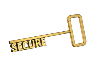 golden key with word secure on a white background