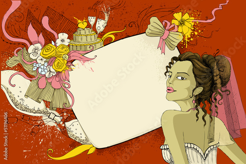 Bride on wedding Background