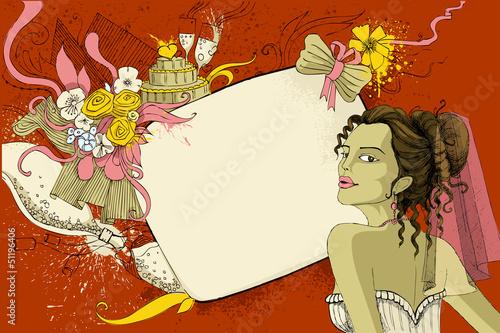 Bride on wedding Background