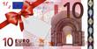 10 Euroschein mit rotem Band und Schleife mit Label