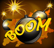 Round black bomb with burning cord background, vector