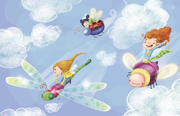 niñas volando