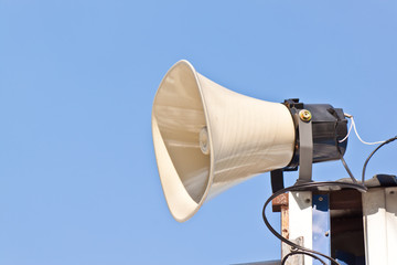 megaphone with blue background