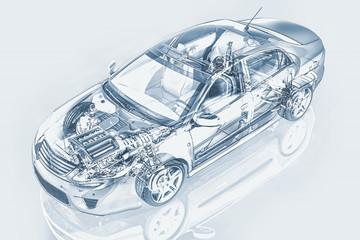 Generic sedan car detailed cutaway representation, with ghost ef