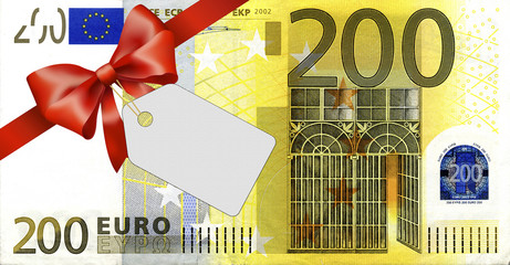 200 Euroschein mit rotem Band und Schleife mit Label