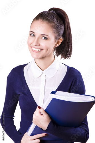 Portrait of a beautiful young student girl