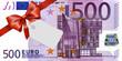Leinwanddruck Bild - 500 Euroschein mit rotem Band und Schleife mit Label