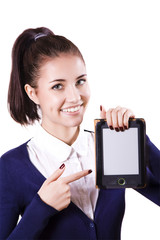 Student girl with e-reader
