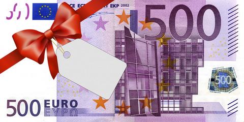 500 Euroschein mit rotem Band und Schleife mit Label