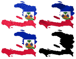 Haiti flag over map collage
