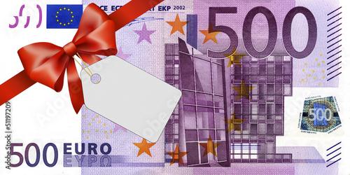 Leinwanddruck Bild 500 Euroschein mit rotem Band und Schleife mit Label