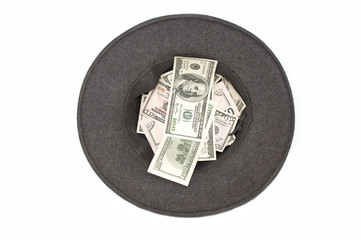 Hat with dollar banknotes