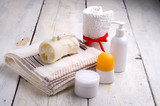 towel and toiletries poster