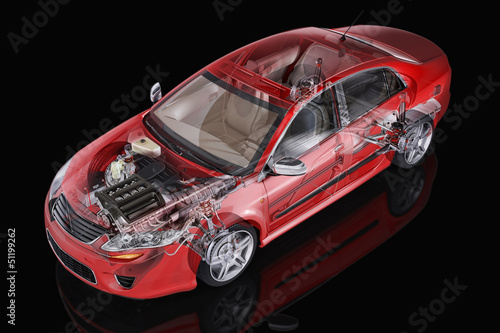 Generic sedan car detailed cutaway representation, with ghost ef