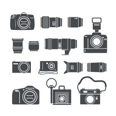 Modern and retro photo technics silhouettes