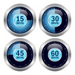Vector blue glossy timer icons