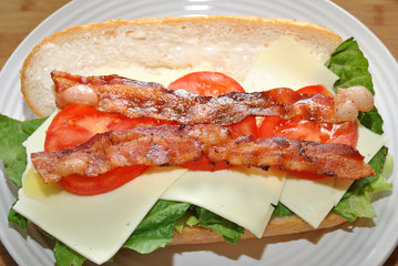 Tasty Bacon, Lettuce and Tomato Sub Sandwich