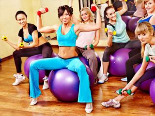 Women in aerobics class.
