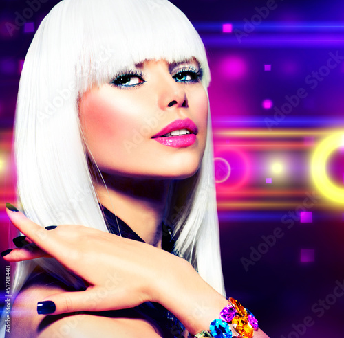 Fashion Disco Party Girl Portrait. Purple Makeup and White Hair