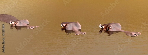 three discret hippopotamus - 3D render