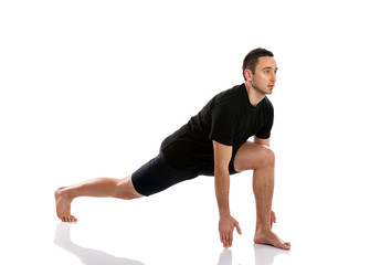 man doing stretching and aerobics