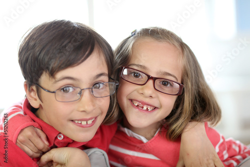 Portrait of kids wearing eyeglasses