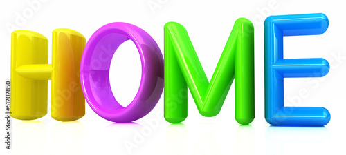 "3d colorful text ""home"""