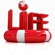 Concept of life-saving.Global