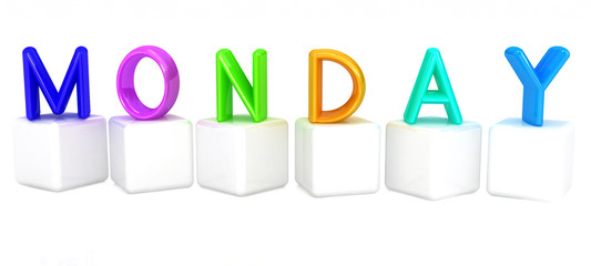 "3d letter is colorful with white cubes ""Monday"""