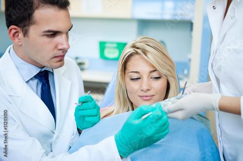 Fototapeten,zahnarzt,examining,zahn,geduldig