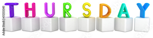 "3d letter is colorful with white cubes ""Thursday"""