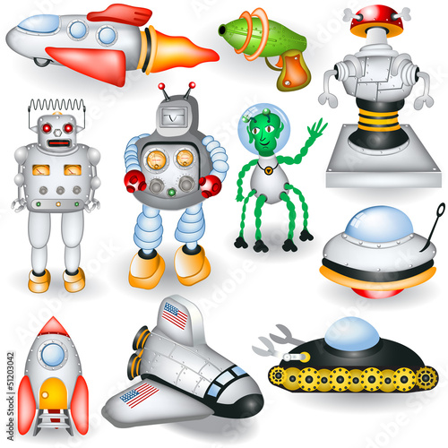 Deurstickers Robots retro future icons
