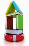 Books house on lifeline. on white background poster