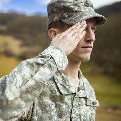 Saluting male army soldier