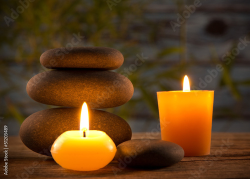 Spa still life with aromatic candles - 51203489