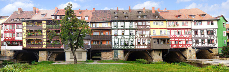Picturesque panorama with Merchants' Bridge. Erfurt, Germany.