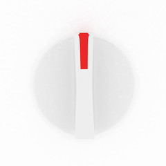 3d white knob on white background