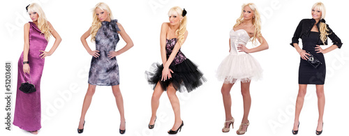 collage of fashion model in different dresses
