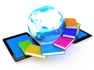 tablet pc and earth with colorful real books  on white backgroun