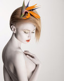 Fototapety Bodypainting. Dreamy Woman with Flower. Futurism. Silver Skin