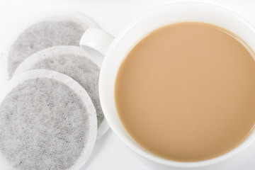 Cup of Tea - Simple cup of tea with milk and tea bags.